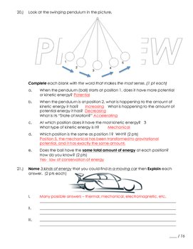 Types of Energy Unit Test and Review Potential and Kinetic