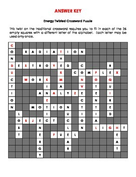 Energy Twisted Crossword Puzzle