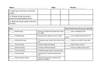 Energy Unit Anticipation Guide