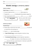 Energy Unit:  Kinetic Energy vs Potential Energy Notes