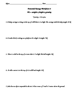 Energy Unit: Potential Energy Practice Worksheet 2 by KDema | TpT
