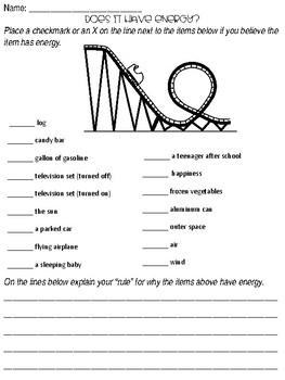 Energy Unit Pre-assessment Worksheet