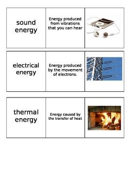 Energy Unit Vocabulary Cards