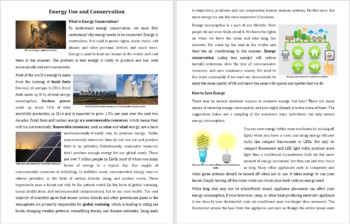 Energy Use and Conservation Reading Comprehension Article - Grade 8 and Up
