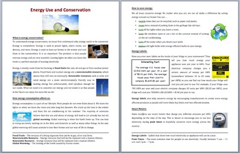 Energy Use and Conservation - Science Reading Article – Grades 5-7