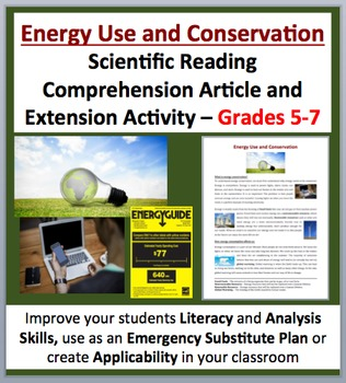 Energy Use and Conservation - Science Reading Article – Gr