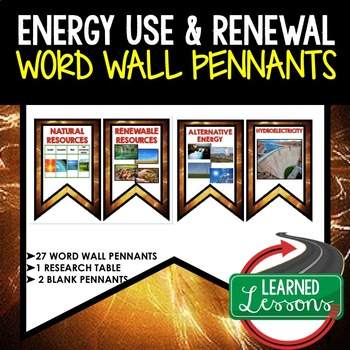Energy Use and Renewal Word Wall Pennants (Physical Science Word Wall)