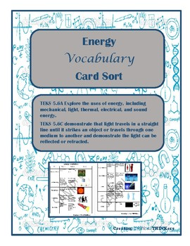 Energy Vocabulary Card Sort- TEKS 5.6A&C Aligned to STAAR
