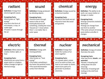 Energy Vocabulary Trading Cards and Illustrated Word Wall