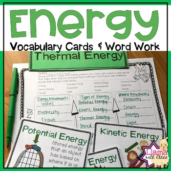 Energy Vocabulary Cards and Word Work Activities