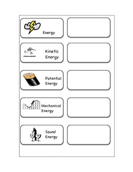 Forms of Energy Vocabulary Cut and Paste with Vocabulary Quiz for Notebooks
