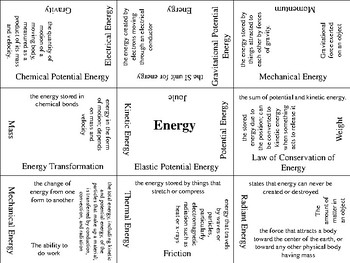 Energy Vocabulary Puzzle