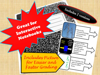 Energy Vocabulary for Interactive Notebooks