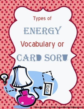 Energy Vocabulary/Card Sort Activity
