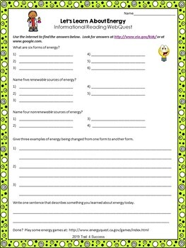 Energy Webquest Scavenger Hunt Activity Informational Text Common Core