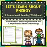 Energy Webquest Scavenger Hunt Activity Informational Text Common Core