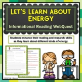Energy Webquest Scavenger Hunt Activity Informational Reading Common Core