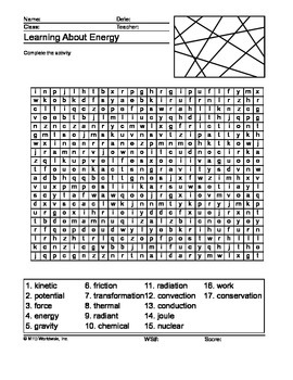 Energy Word Search and Word Scramble Printable Worksheets