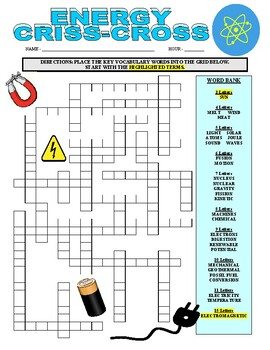 Energy Wordsearch (science)