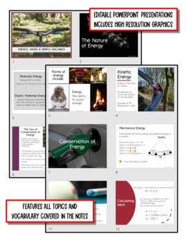 Energy, Work & Simple Machines: PS Notes, PowerPoint and Test ~ EDITABLE