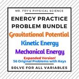 Energy Practice Problem Bundle - GPE, KE, and Conservation of ME -includes keys!