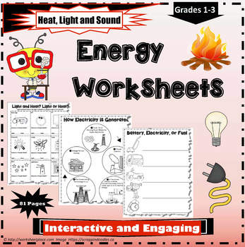 Energy Heat Light And Sound By Worksheet Place Tpt