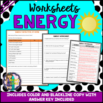 Energy Worksheets with Blackline Copy & Answer Key (Energy Activities)