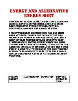 Energy and Alternative Energy Match Up