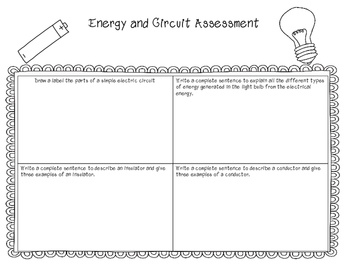 Energy and Circuit Quick Check Assessment - Rubric Included!