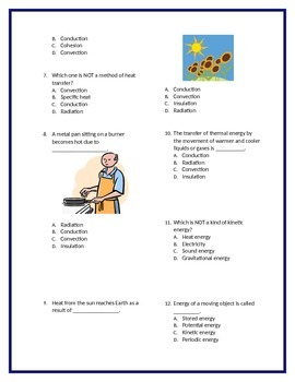 Energy and Heat Transfer Quiz