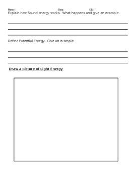 Energy and Light Quiz