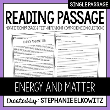 Energy and Matter Reading Passage