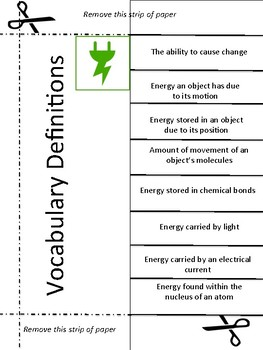 Energy and Simple Machines Vocabulary Activity