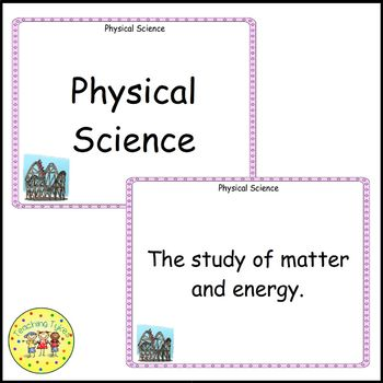 Energy and Work Vocabulary Cards