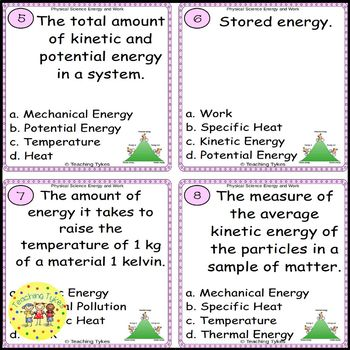 Energy and Work Task Cards