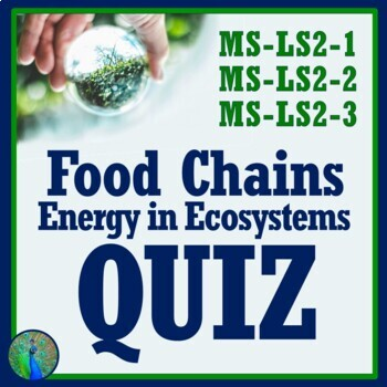 Food Chains Webs and Energy in Ecosystems Quiz Middle School NGSS MS-LS2-3