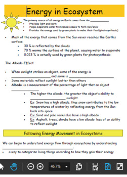 Energy in Ecosystems: Student Note & Teacher Smartboard Lesson