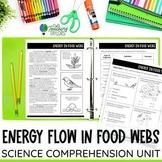 Energy in Food Webs Passage Comprehension Activities | Dis
