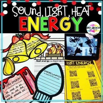 Sound, Light, Heat Energy ~ Christmas Themed Activities in English & Spanish!