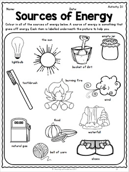 {Grade 1} Unit 3: Energy in Our Lives