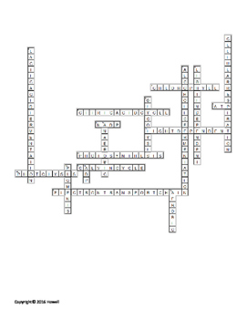 Energy in a Cell Crossword for Biology I Students