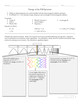 Energy of the Electromagnetic Spectrum (V1 of 2)