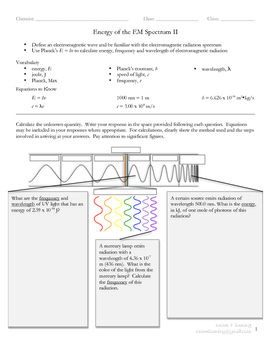 Energy of the Electromagnetic Spectrum (V2 of 2)