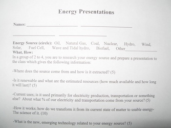 Energy presentations- Sources of energy