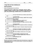 Energy, work, and power vocabulary test with key