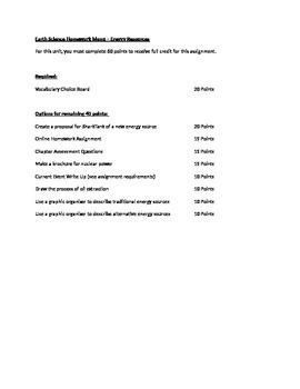 Energy/Human Impact Homework Menu