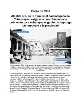 Enero de 1930: alcalde indígena exige contribución arbitrario en Totonicapán.