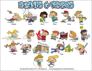 Enfants & Verbes Cartoon Clipart