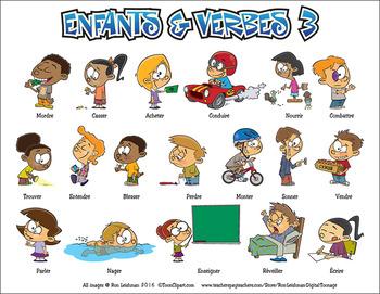 Enfants & Verbes Cartoon Clipart Vol. 3