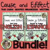 Eng.-Span. Bundle! Cause and Effect Task Cards Graphic Org
